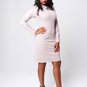 Bodycon Raglan-Sleeve Dress (Nude)