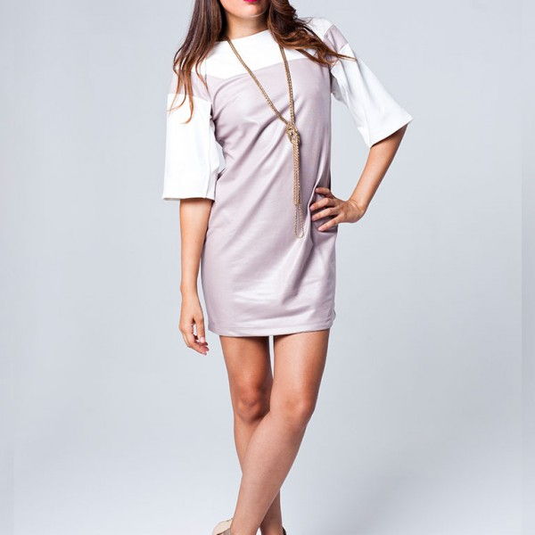 Exaggerated Raglan Sleeve Dress-(two-tone)